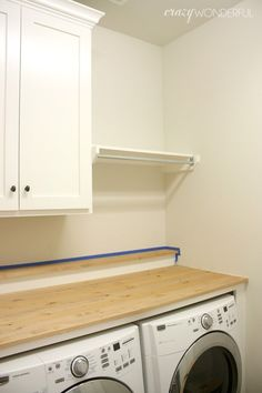 "DIY built-in washer + dryer - Crazy WonderfulFind out more about ""Laundry room storage DIY"". Visit our website.How to make a floating laundry roomHow to create a floating countertop, countertop cleat and gable, and washroom Storage Room, Room Organization Diy, Laundry Mud Room, Washer, Washer And Dryer, Countertop Washer, Laundry, Room Storage Diy, Laundry Room Countertop"