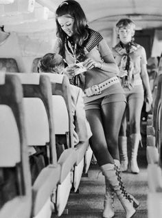 A Southwest Airlines flight attendant in 1972 ...