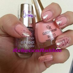 """Glittery Pink Gradient Nails using Golden Rose-Paris #219 and Essence-Effect Nail Polish Glitter Jewels #03 in """"Glitz & Glam"""""""