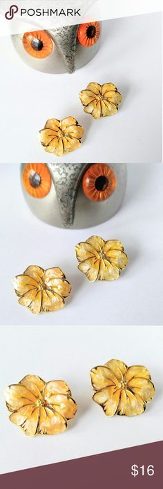 "GORGEOUS Enameled Flower Vintage Earrings-Yellow High end vintage thick enameled and detailed flower pierced earrings.  Milky yellow with gold tones. Excellent vintage condition.  They measure about 1"".  The dark in the pics when showing the backs, is just shadows.  Add as many items to your cart as you like.  Shipping stays the same! PickinChickJewelry sells in several online areas, as well as owning a storefront Vintage Jewelry Earrings"