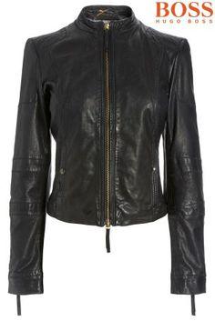 Buy Boss Orange Black Leather Biker Jacket from the Next UK online shop