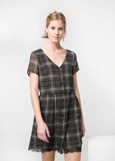 Lace appliqué check dress - Women | OUTLET