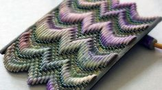 """Puffy"" flamestitch pendant in plum and green by Jana Roberts Benzon, via Flickr"