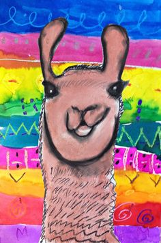 MaryMaking: Llamas with Peruvian Textiles Llamas Animal, Llama Arts, Llama Llama, South American Art, Peruvian Art, Peruvian Textiles, 4th Grade Art, Grade 3, Animal Art Projects