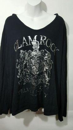 6e378c82422 Lane Bryant Plus sz 18 20 Casual Top Black w Silver 034 Glamrock 034  graphic hood L S