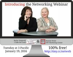 Introducing the Networking Webinar with Becky Tengwall of I Take the Lead & Ronnie Noize of the DIY Marketing Center 4 info-packed high-value episodes from 3-4pm on the third Tuesday of month starting January 19, 2016. Details/register at http://www.diymarketingcenter.com/Networking-Webinar