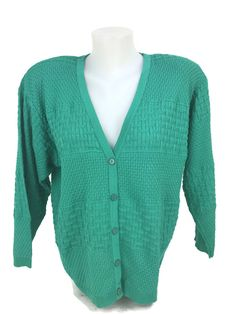 Vintage 1980s COURREGES France Women's Bright Green Knit Cardigan Sweater Size A #Courreges #Cardigan
