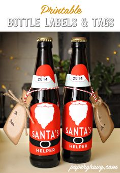 FREE Printable Santa Suit Beer Bottle labels by papergravy.com