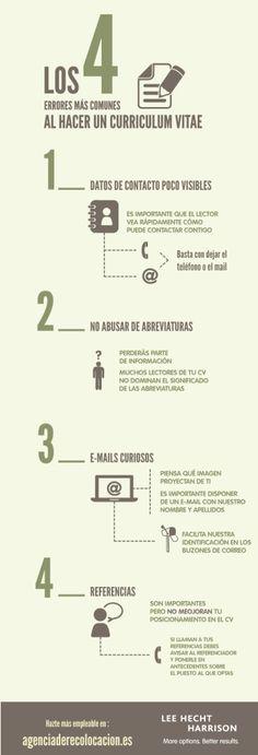 Los 4 errores más comunes de un Curriculum Vitae #infografia #infographic #empleo