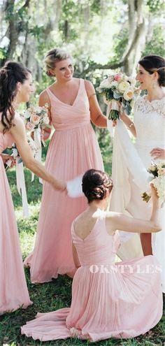 A-line Floor-length V-neck Sleeveless Long Pink Chiffon Bridesmaid Dresses, BD0648#bridesmaids #bridesmaiddress #bridesmaiddresses #dressesformaidofhonor #weddingparty #2020bridesmaiddresses Affordable Bridesmaid Dresses, Long Bridesmaid Dresses, Wedding Dresses, Bridesmaids, Custom Dresses, Famous Brands, Dream Dress, Dress Making, Shoulder Dress