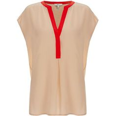Joie Anisa Nude Two-Tone Cap Sleeve Silk Blouse