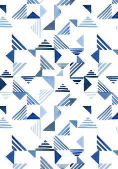Indigo Triangles surface pattern / Yao Cheng Design Make a quilt imitating this design using HST Geometric Patterns, Geometric Quilt, Graphic Patterns, Print Patterns, Pattern Dots, Doodle Pattern, Pattern Texture, Surface Pattern Design, Triangle Pattern
