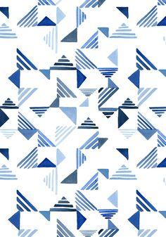 Indigo Triangles surface pattern- Yao Cheng Design