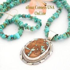 Boulder Turquoise Pendant Kingman Turquoise Bead Necklace Earring Set Native American Navajo Silver Jewelry Peggy Skeets Four Corners USA OnLine NAP-09374