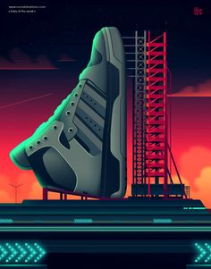 Striking Neon Illustrations Feature Sneakers In Popular Movies - DesignTAXI.com