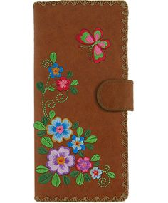 LAVISHY vegan leather embroidery flower and butterfly large wallet