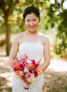 Napa wedding at Solage Calistoga with a blue, coral orange, and fuchsia pink wedding color palette | via junebugweddings.com
