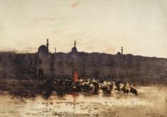 During his return journey from Baghdad, Melville halted at Mosul, where he painted a watercolour of horsemen crossing the bridge over the River Euphrates by day. This was eventually worked up into two exhibition watercolours, of which this is the larger. Over The River, Impressionist, Monument Valley, Paris Skyline, Cool Art, Watercolours, Glasgow, Fine Art, Landscape