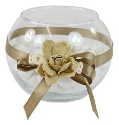 Vaso tondo per confettata in vetro colore neutro con decorazione nastri colori a scelta