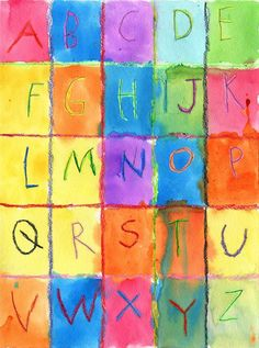 "Art Projects for Kids: Watercolor Alphabet  Paul Klee  11""x15"" watercolor paper, draw grid with crayon, write letters with pencil then trace with crayon, fill in each rectangle with a different color of liquid watercolor."