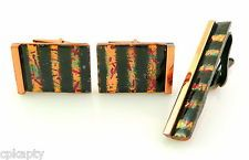 RARE Vintage 1950s MATISSE California Abstract Copper Enamel CUFFLINKS & TIE BAR