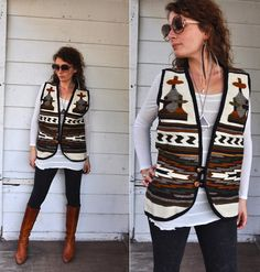 Peruvian Guatemalan Vest Wool Navajo Ethnic by LaDeaDeiSogni, $88.00