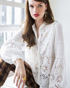 Broderie Anglaise Frill Blouse