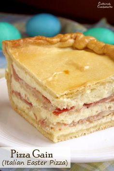Pizza Gain (also known as Pizzagaina, Pizza Rustica, or Pizza Chiena) is an Italian Easter Pizza that is unlike any pizza you have ever tasted. Forget the tomato sauce, this filled pizza is more like a cheese and salami pie with a pizza crust. Pizza Recipes, Wine Recipes, Dessert Recipes, Desserts, Recipes Dinner, Yummy Recipes, Pizza Rustica, Quiche, Bechamel