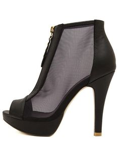 Glamour Stiletto Heel Zipper Mesh Peep Toe High He $49.99