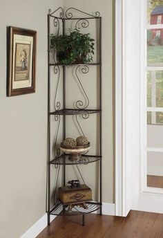 Plant Stand Metal Patio Corner Shelves Garden Bakers Rack Storage Copper Finish