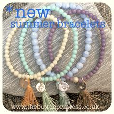 Something new and fresh from The Button...summer beaded bracelets ☀  Beaded bracelets in gorgeous summer hues, accented with sterling silver starburst beads, complimenting tassels and hand punched charms.  Charms available are love heart, star, lucky clover and butterfly.  *I'm yet to list these in my little online shop, so they are a Pinterest exclusive*   Reasonably priced at £10 each plus p&p There is only ONE of each so they are on a first come, first serve basis...get 'em while they're…