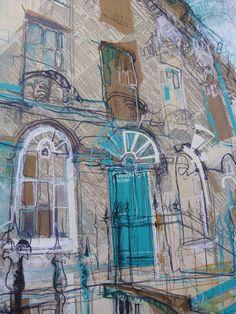 Mixed media artist living and working in the Edinburgh New Town - painting and drawing the surrounding Georgian Architecture. Gcse Art Sketchbook, Sketchbooks, Sketchbook Ideas, Turquoise Door, Collage Art, Collage Illustration, Travel Illustration, Illustrations, Building Art