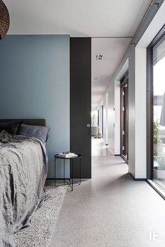 20 Concrete Floors for Your House to Look Simple - TopDesignIdeas House Paint Exterior, Exterior Design, Blue Home Decor, Scandinavian Interior Design, Blue Bedroom, Awesome Bedrooms, Apartment Interior, Concrete Floors, Door Design