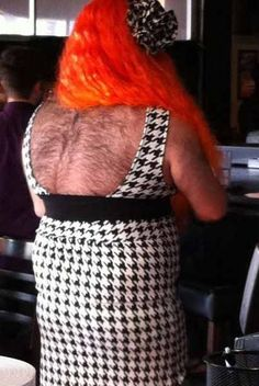 How About A Back Rub???? Hairy Back in a Dress... ---- funny pictures hilarious jokes meme humor walmart fails