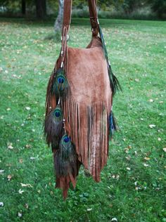 ➳➳➳☮ American Hippie Bohemian Boho Feathers a Gypsy Spirit Style ~ Ombre' Sheepskin Fringe Bag with Peacock feathers and Beads