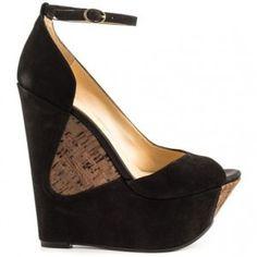 Jessica Simpson Maggey Platform Sandal in Black Elko Nubuck as seen on Jessica Simpson
