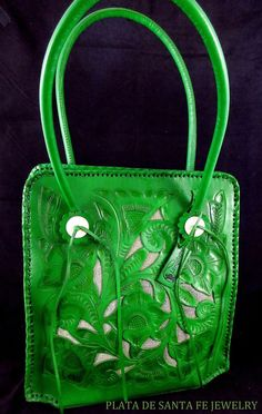 Mexican Well Designed Green Tooled Leather Cut Out Design Jute Hand Purse Tote