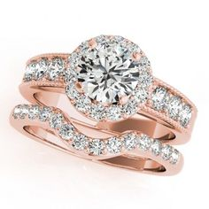 14K Rose Gold Ladies Round Diamond Wedding Band Engagement Ring Bridal Set