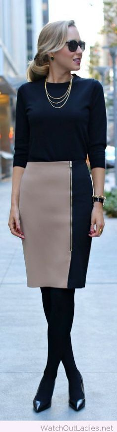 Nude and black skirt, perfect for office