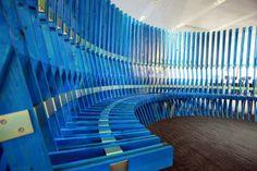 Cloister Bench #bench #wood #blue