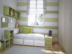Cool Soft Green Girls Room Design With Green And White Bunk Bed Also Green Shelves And Cabinets Wrapped In Horizontal Green White Stripes Wall And Divine Laminated Wooden Floor Cool rooms for girls Bedroom Wall Colors, Room Ideas Bedroom, Girls Bedroom, Bedroom Decor, White Bunk Beds, Modern Bunk Beds, Modern Bedroom, Cool Girl Rooms, Green Girls Rooms