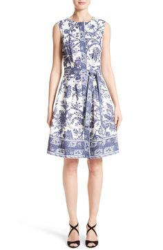 New OSCAR DE LA RENTA Print Fit Flare Dress fashion online. [$2190]?@shop hoodress<<