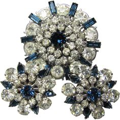 Vintage Austrian Crystal Diamantine & Cobalt Brooch & Earring Set from brendastreasures on Ruby Lane