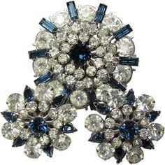 Vintage Austrian Crystal Diamantine & Cobalt Brooch & Earring Set from brendastreasures on Ruby Lane