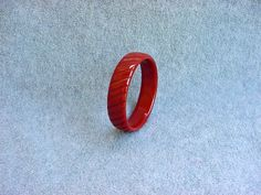 Carved Striped Bakelite Bangle Brick Red by Kissisjustakiss
