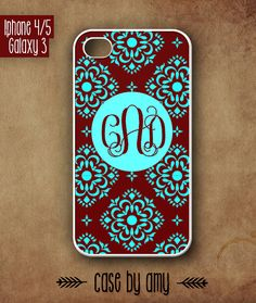 Monogrammed Damask case for iPhone 4/4s, iPhone 5, Samsung Galaxy S3 - Accessories for iPhone - iPhone Galaxy Case - $16.80  at http://casebyamy.etsy.com