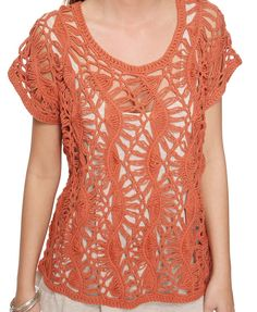 Loose orange #knit sweater.  Perfect for summer!