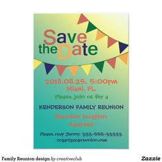 Family Reunion design Card #savethedate #reunioninvitation #reuniontime