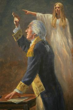 """""""The Angel of Liberty."""" George Washington is beholding a vision. Jon McNaughton will have this beautiful piece of art available very soon. Such great work! Link takes you to site. George Washington, Jon Mcnaughton, American Independence, American Revolutionary War, God Bless America, Founding Fathers, American History, American War, American Soldiers"""
