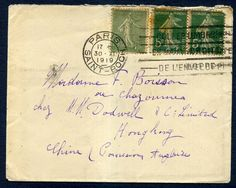 319292 - Lot 511 - Hong Kong - Covers - 1919 French cover sent to Hong Kong, Chine British Possession… / MAD on Collections - Browse and find over 10,000 categories of collectables from around the world - antiques, stamps, coins, memorabilia, art, bottles, jewellery, furniture, medals, toys and more at madoncollections.com. Free to view - Free to Register - Visit today. #Stamps #PostalHistory #MADonCollections #MADonC